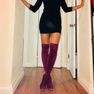 Wine thigh high boots (brand new)