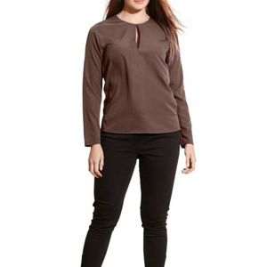Ralph Lauren Women's Chocolate Crepe Keyhole Top