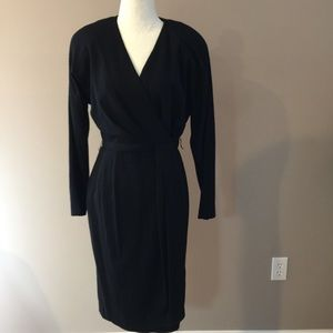 Vintage 80s Wool Wrap Dress
