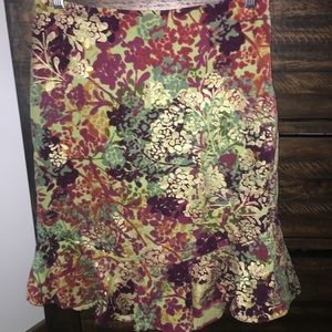 Knee length velvet floral skirt