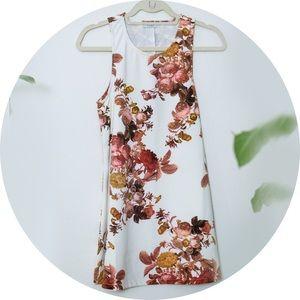 White Floral Patterned Shift Dress
