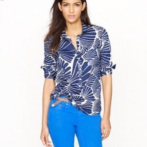 J. Crew Fanfare Popover 3/4 Button Down Shirt