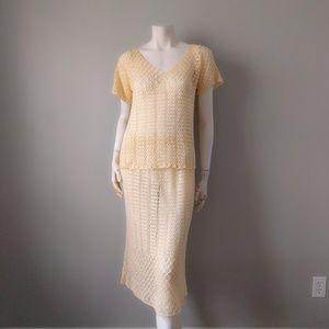 VTG Ivory Handmade Crochet Skirt Set S M