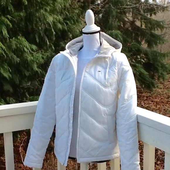 custom new products great discount Hilfiger Sport white quilted hooded jacket sz M/38