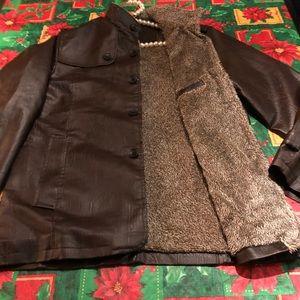 Men's Leatherette jacket in dark brown
