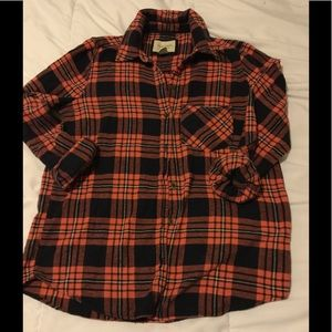 Forever 21 orange and black plaid shirt