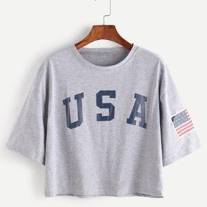 Romwe USA short sleeve cropped