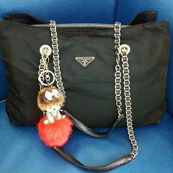 Auth Used Prada tessutto nylon gold chain bag. M 5a309eb313302a81e70180fb f8a02295cf
