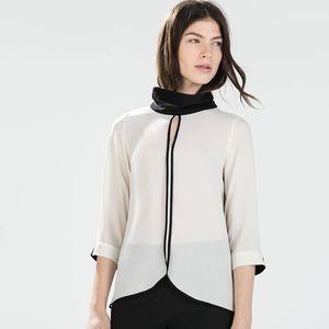 ZARA Blouse w/ High Collar