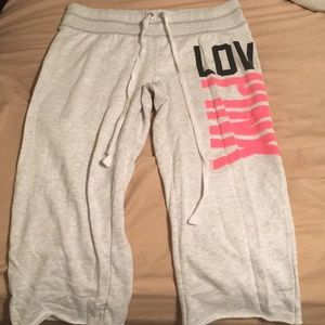 Pink Victoria secret grey crop sweatpants sz med