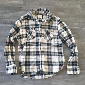 Black Cream F21 Flannel Button Down