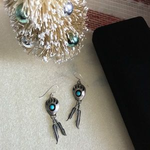 Vintage Silver Earrings Turquoise Bear Paw Design