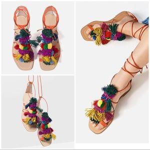 Zara WOMAN Leather Pom Pom Fringe Lace Up Sandals