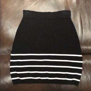 Bebe Black Stripe Striped Bodycon Mini Skirt XS