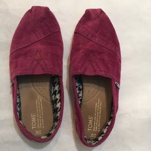 Toms Pink Corduroy Slip Ons