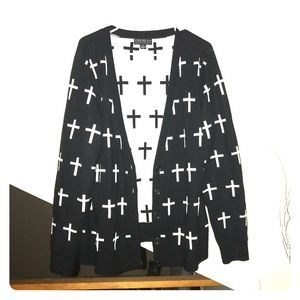 Forever 21 + Black And White Cross Cardigan