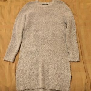 Women's grey long sweater with slits down side