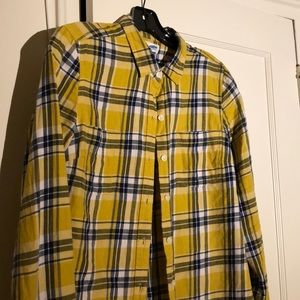 Mustard Yellow + Blue Plaid Button-Down