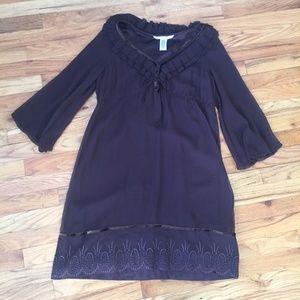 Diane Von Furstenburg 100% Silk Brown Dress
