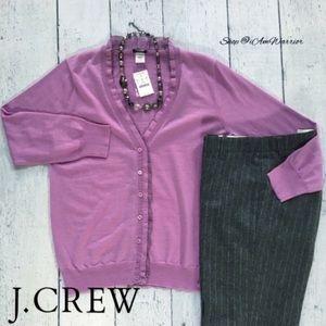 J. Crew NWT silk ruffle v-neck cardigan