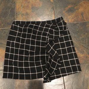 Madewell Windowpane ruffle-front skirt