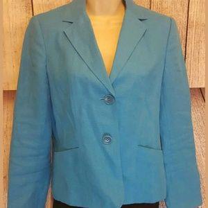 TALBOTS blue green Irish Linen Blazer Sz 4