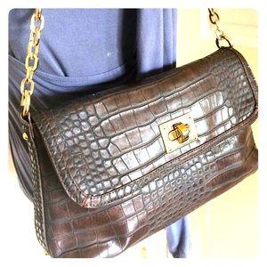 Liz Claiborne Brn  Gold Faux leather Croc Purse