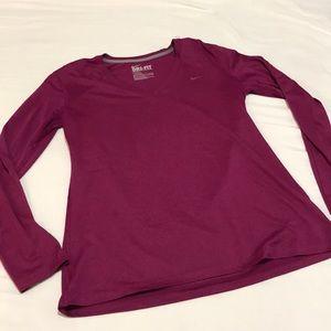 Nike dry fit long sleeve tee. Medium wine color