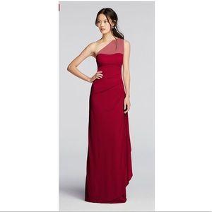 David's Bridal Long Mesh 1 Shoulder Illusion Dress