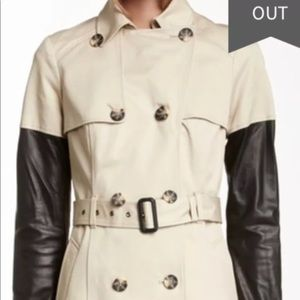 Mackage inessa leather sleeve trench coat