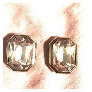 Jewelry - Silver statement crystal clip on earrings