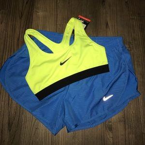 New neon yellow nike sports bra