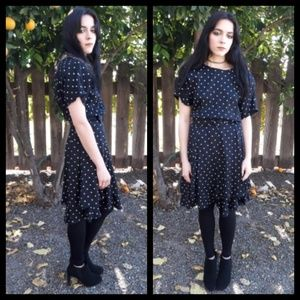 NWT! Vintage 80's polka dot dress w/ belt!