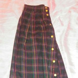 Talbots long black red green and yellow skirt