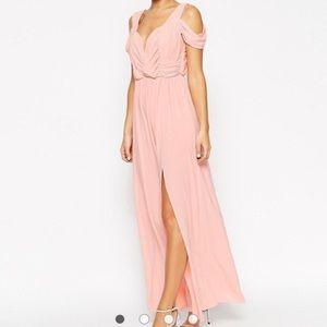 ASOS Pink Drape Cold Shoulder Maxi Dress