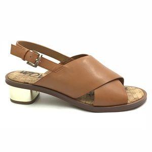 Sam Edelman Sandals 7.5 Ankle Buckle Low Heels Tan