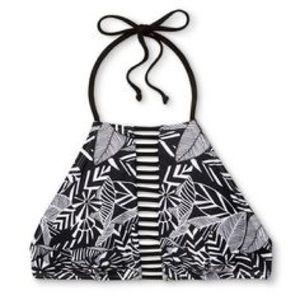 Xhilaration D/DD Black and White Halter Bikini Top
