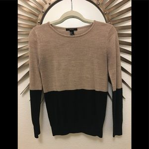 FOREVER 21 COLOR BLOCKING FITTED SWEATER SIZE S