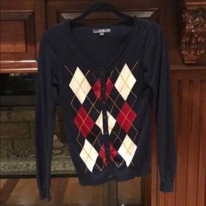 RARE Forever 21 Navy Red Argyle Cardigan Sweater M