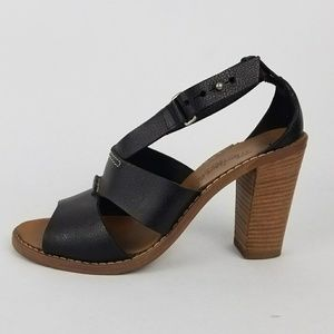 Madewell Black Leather Strap Heeled Sandal