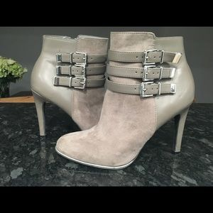 Gray Beige Sam and Libby Booties (size 8)