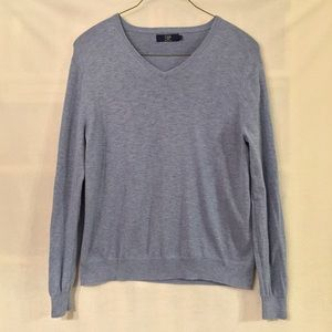 J. Crew heather blue slub cotton v-neck sweater