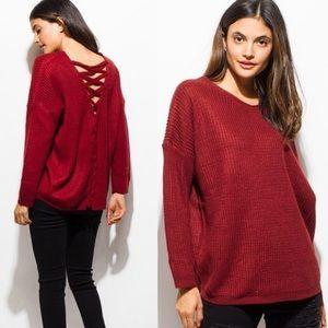 Sweaters - ‼️ONE LEFT ‼️Beautiful Merlot Back Laced Sweater