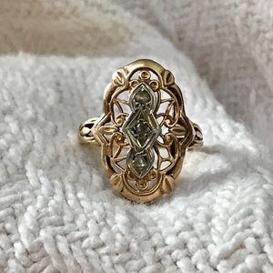 Jewelry - Vintage 14k gold antique style diamond ring repair