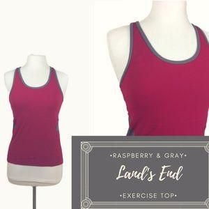 Raspberry & Gray Land's End Exercise Top Sz. 4