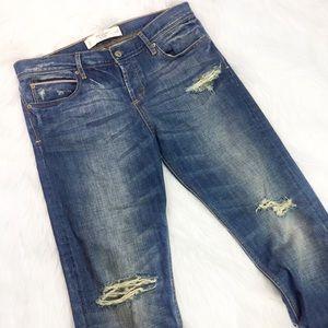 Abercrombie & Fitch Straight Distressed Denim Jean