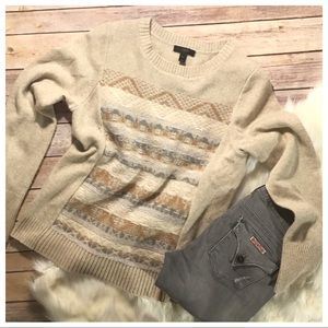 J. Crew Cream Fair Isle Wool Crewneck Sweater