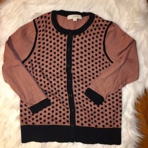 LOFT polka dot button up crewneck cardigan
