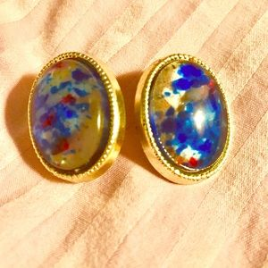 Jewelry - Silver base with color -stone pierced earrings