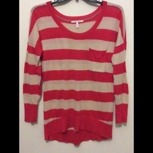 Striped Sweater Orange/Cream 100% Cotton Knit Top